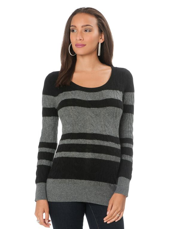 Cable Knit Cashmere Maternity Sweater, Black/Grey