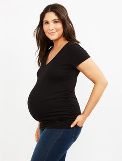 V-neck Side Ruched Maternity Tee- Solid, Black