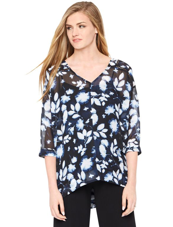 Floral Print Swing Blouse, Blue Ditsy