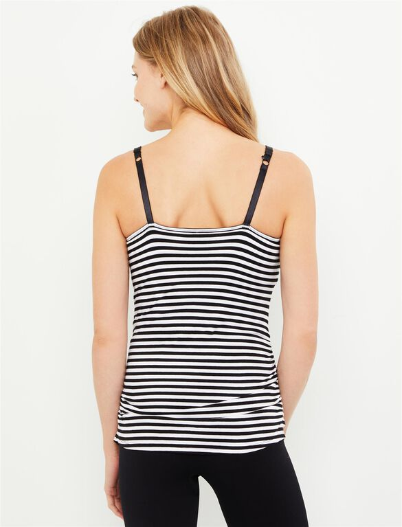 Jessica Simpson Clip Down Shelf Bra Nursing Cami- Stripe, Black/White Stripe
