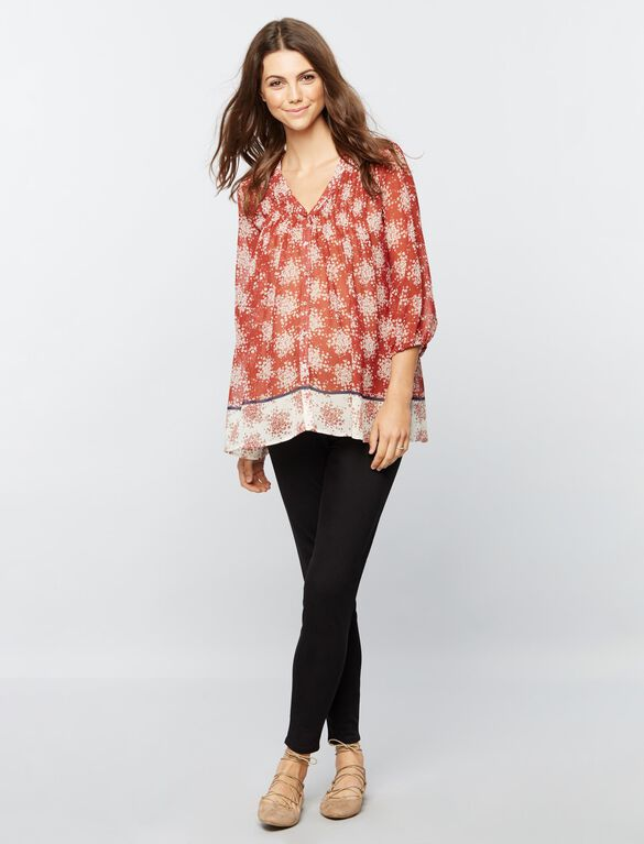 Button Detail Maternity Blouse, Burgundy Floral