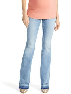 Jessica Simpson Secret Fit Belly Super Flare Maternity Pants, Light Wash