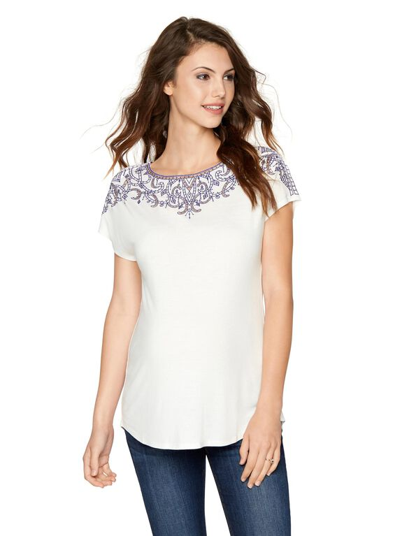 Ella Moss Embroidery Maternity Top, White