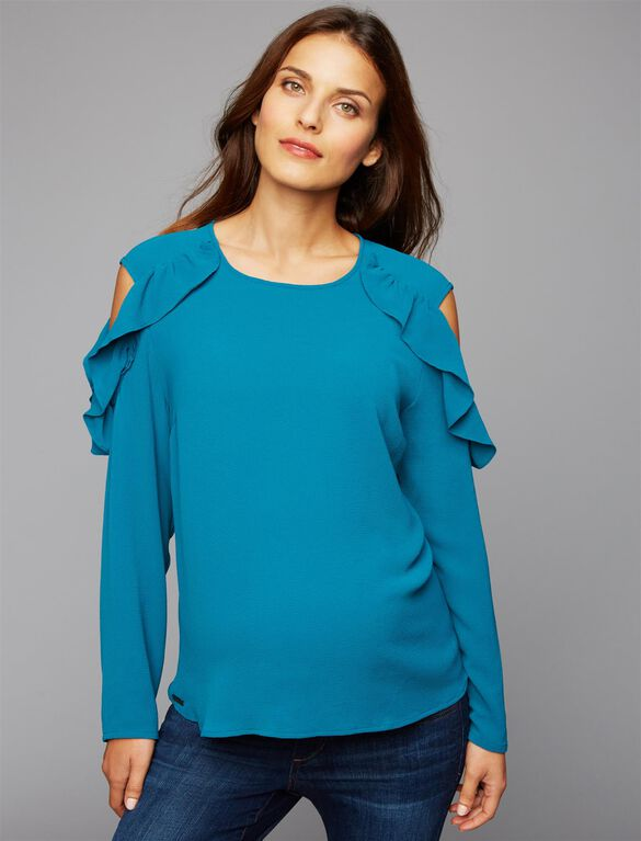Ripe Ruffled Cold Shoulder Maternity Blouse, Teal