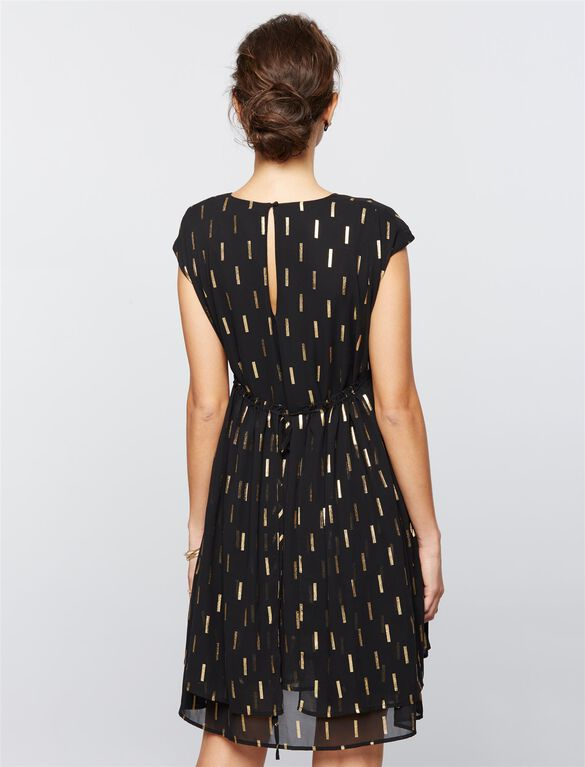 Collective Concepts Metallic Dot Print Maternity Dress, Black