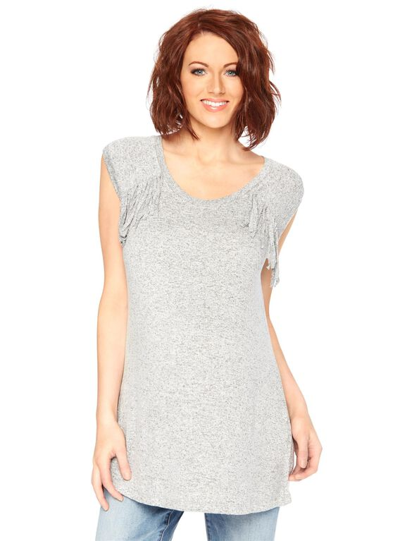 Wendy Bellissimo Fringe Maternity Tee, Light Gray