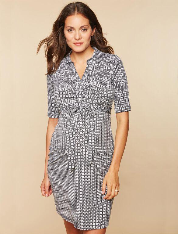 Side Tie Maternity Dress, BLACK/WHITE PRINT