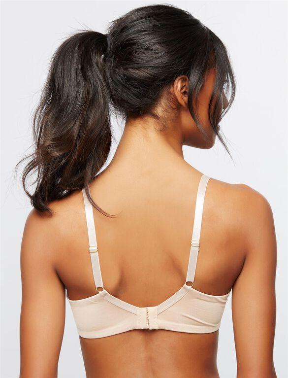 Wireless Lace Trimmed Nursing Bra, Nude