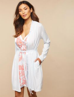 Satin Trim Maternity Nightgown And Robe Set, Palm Print