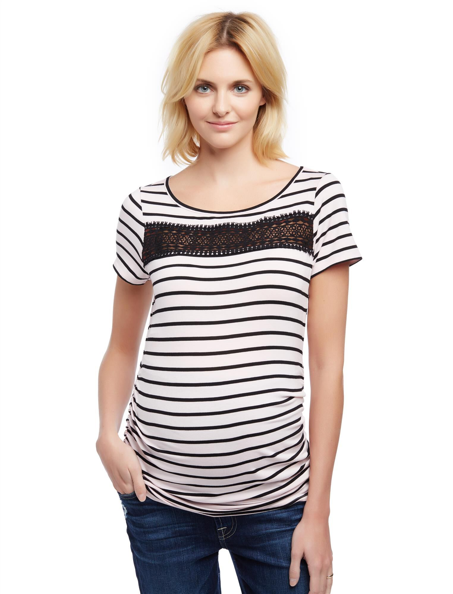Lace Detail Side Ruched Maternity Tee- Stripe