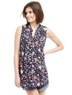 Sleeveless Two Pocket Maternity Tunic- Navy Floral, Navy Floral