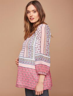 Border Print Maternity Blouse, Pink