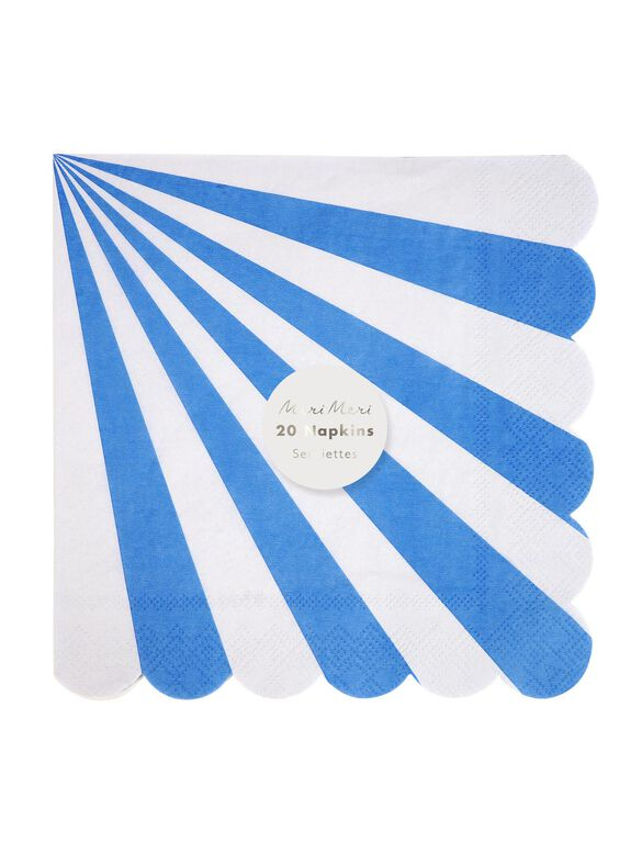 Meri Meri Striped Large Napkins, Blue Stripe