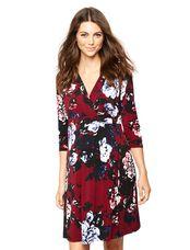 Floral Print Knee Length Maternity Dress, Flrl Print