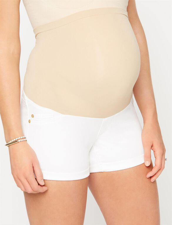 Luxe Essentials Denim Cuffed Maternity Shorts, White