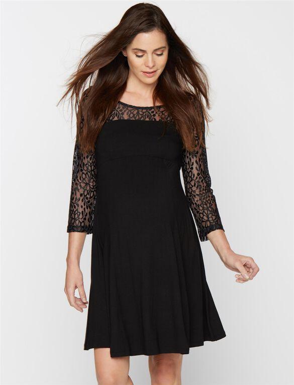 Isabella Oliver Lace Maternity Dress, Black Lace