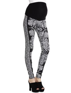 Jessica Simpson Secret Fit Belly Jacquard Maternity Leggings, Black Print