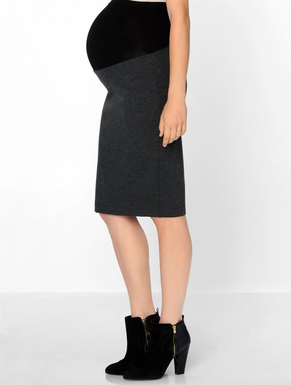 Isabella Oliver Pull On Maternity Pencil Skirt, Dark Grey Melange