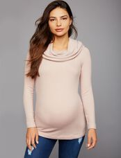 Three Dots Off Shoulder Maternity Sweater, Pink