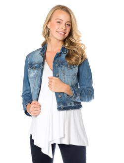 Jessica Simpson Button Front Plain Weave Denim Maternity Jacket, Denim