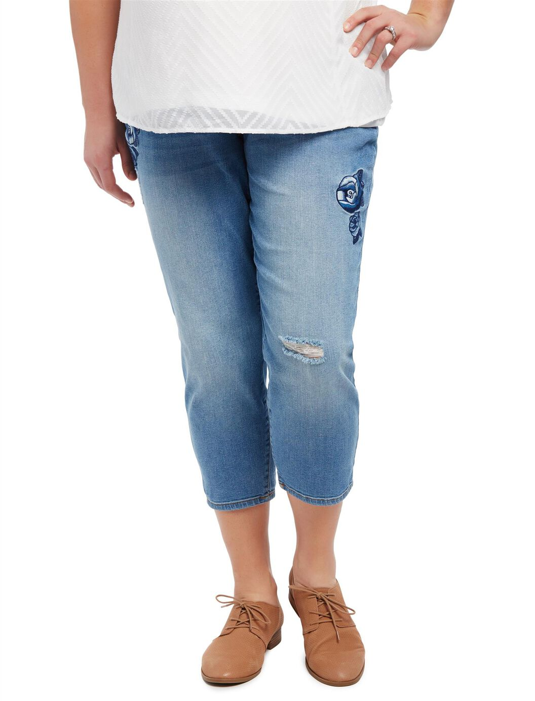 Plus Size Secret Fit Belly Floral Embroidered Maternity Crop Jeans at Motherhood Maternity in Victor, NY | Tuggl