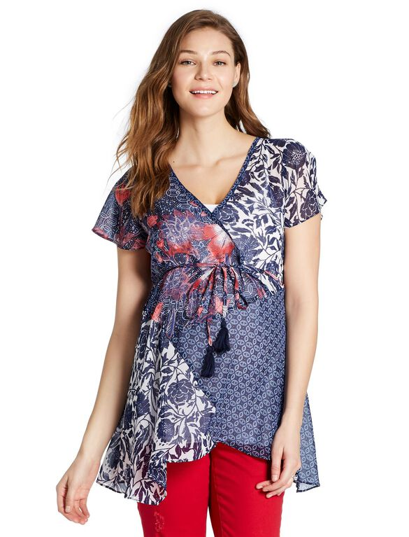 Jessica Simpson Mix Print Maternity Blouse, Mix Print