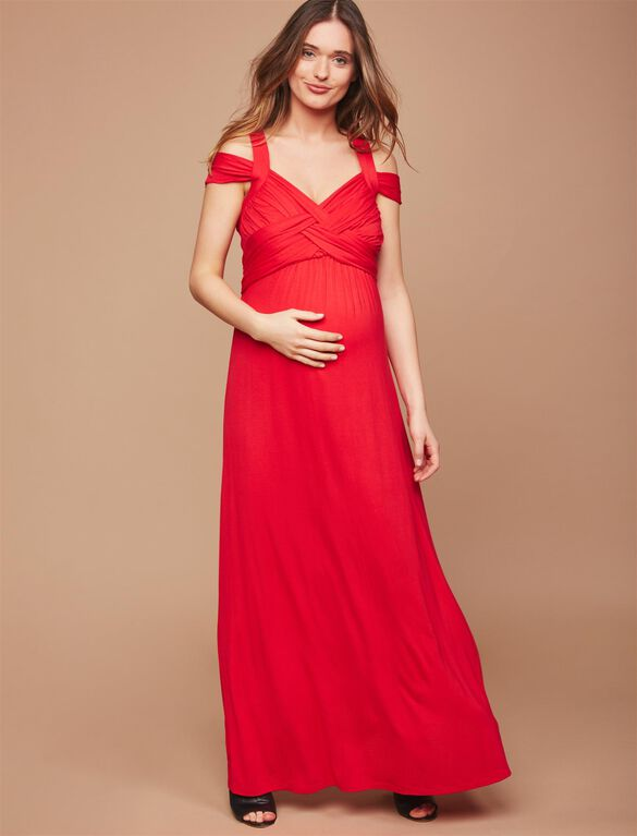 Cross Back Maternity Maxi Dress, RED