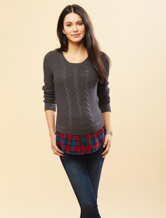 Cable Knit Plaid Maternity Sweater, Grey/Plaid