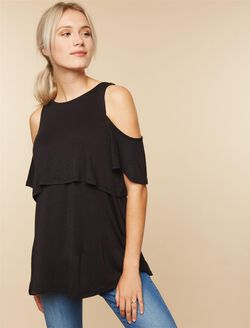 Lift Up Cold Shoulder Nursing Top, Black
