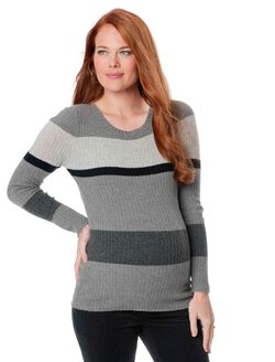 Striped Maternity Sweater, Multi Stripe