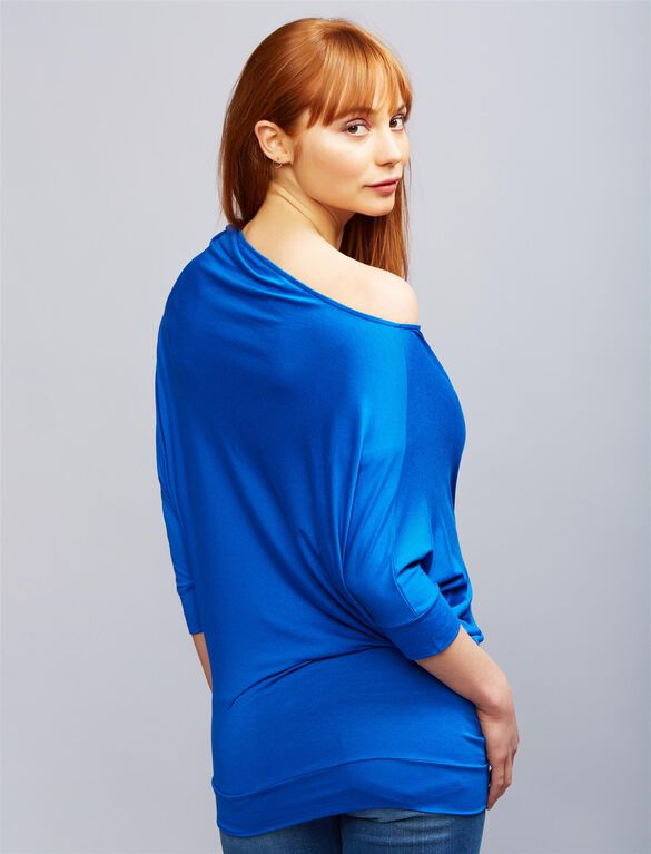 Pietro Brunelli Off The Shoulder Maternity Top, Blue
