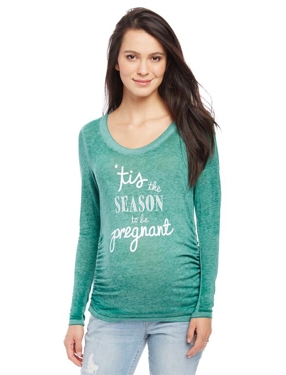 Tis the Season to be Pregnant Maternity Tee, Tis The Season Green