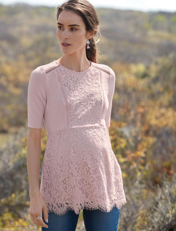 Lace Peplum Maternity Top, Pink