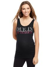 Due in October Maternity Graphic Tank Top, Opal Glitter