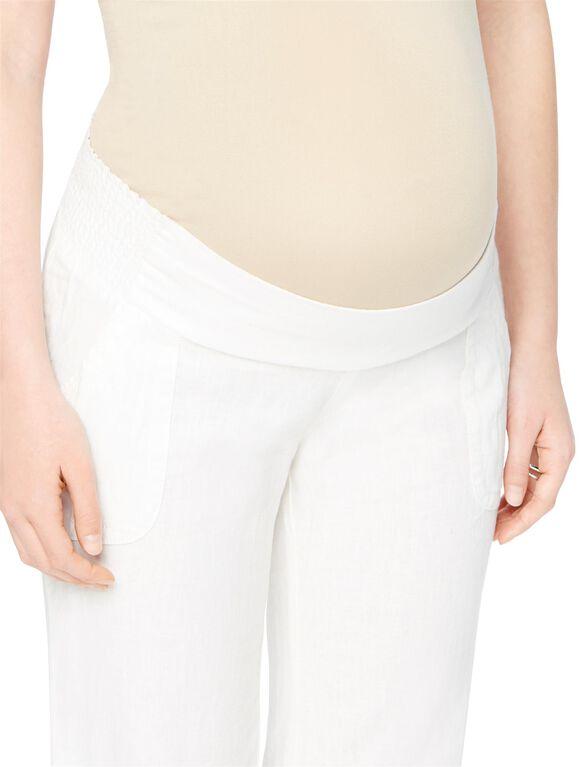 Smock Waist Linen Flare Leg Maternity Pants, White