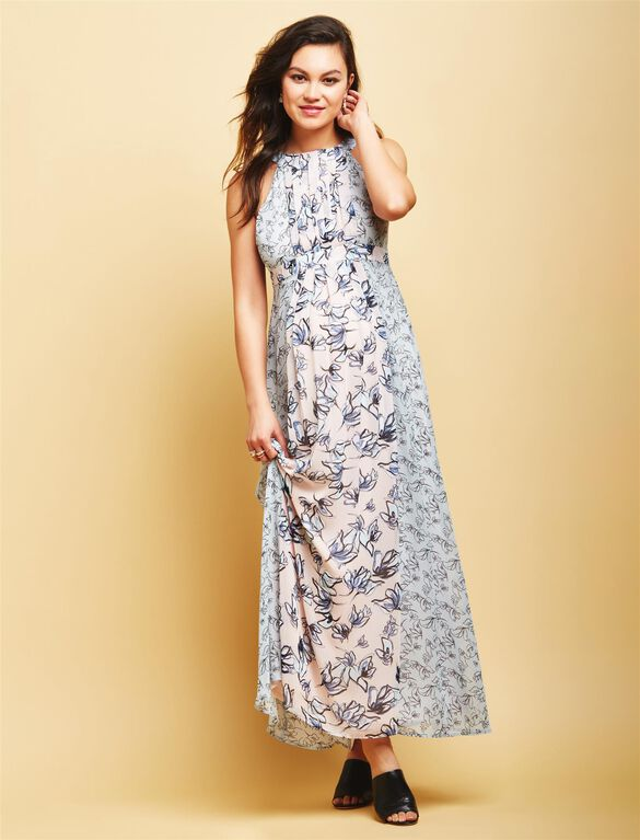 Floral Empire Seam Maternity Maxi Dress, Floral Print
