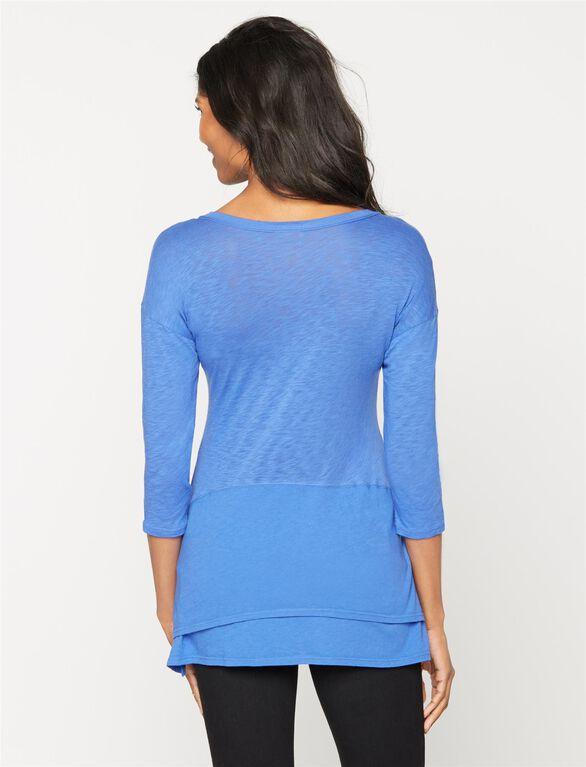 Splendid Bias Cut Maternity T Shirt, Blue Iris