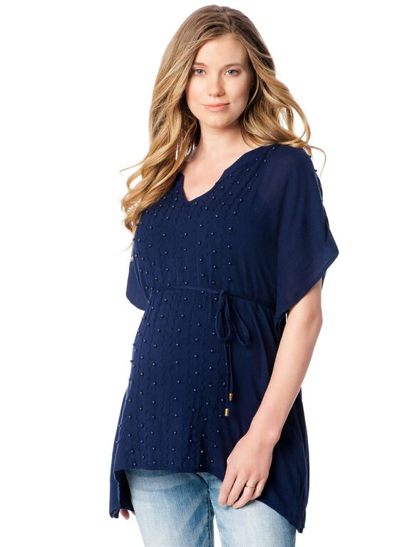 Jessica Simpson Batwing Maternity Blouse, Navy