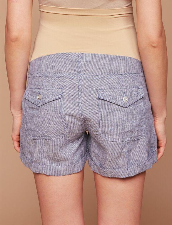 Secret Fit Belly Roll Hem Maternity Cargo Shorts, Navy Stripe