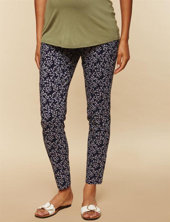 Secret Fit Belly Skinny Ankle Maternity Pants, Navy/Grey Print