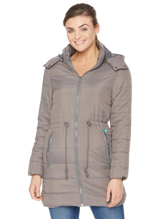 Modern Eternity 3 In 1 Drawstring Maternity Puffer Coat, Grey