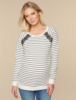 Raglan Sleeve Maternity Top, Egret Black Stripe