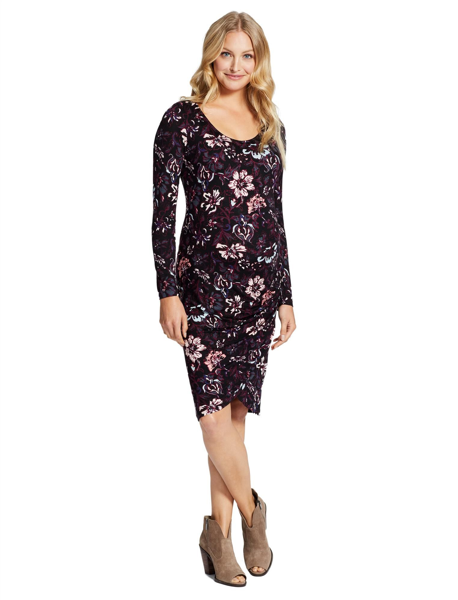 Jessica Simpson Floral Ruched Maternity Dress