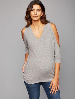 Chaser Cold Shoulder Knit Maternity Top, Grey