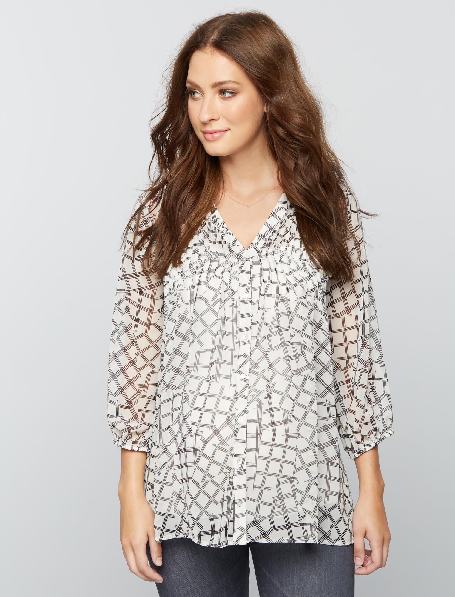Button Detail Maternity Blouse