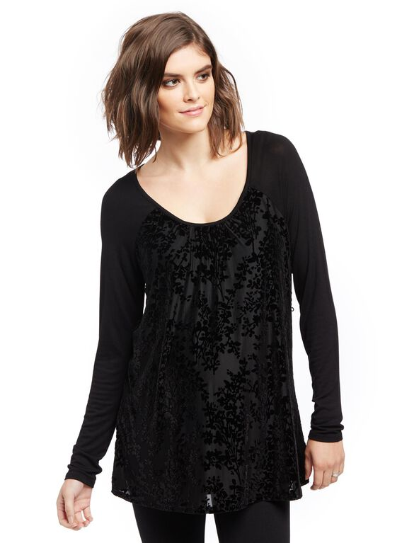 Burnout Maternity Shirt, Black