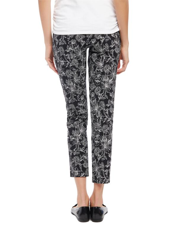 Secret Fit Belly Skinny Ankle Maternity Pants- Floral, Floral Print