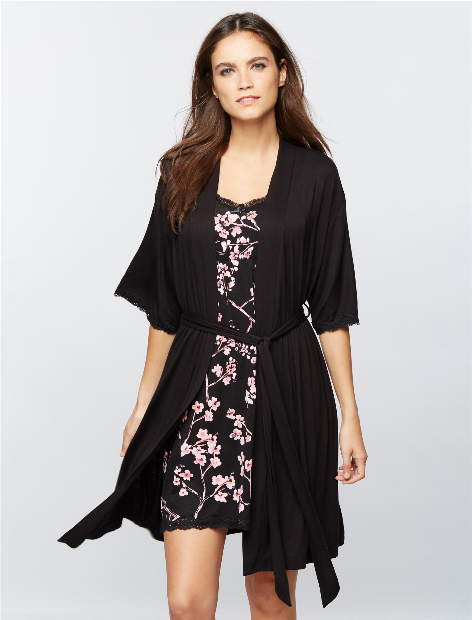 Clip Down Nursing Nightgown and Robe- Floral