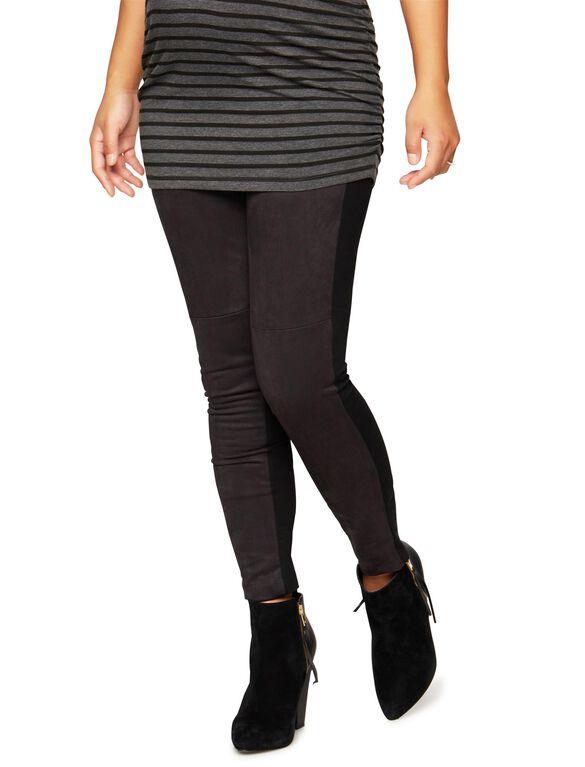 Secret Fit Belly Faux Suede Maternity Legging, Black