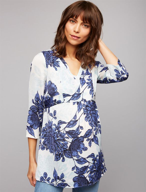 Tie Back Floral Maternity Tunic, Blue Floral
